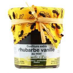Confiture extra de rhubarbe-vanille